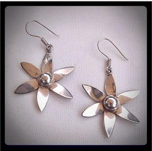 VINTAGE 925 Sterling Silver Flower Drop Earrings